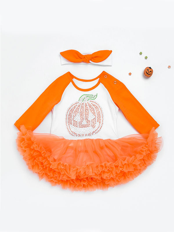 Halloween Baby Girls 2-piece Set Pumpkin Romper Dress+Headband