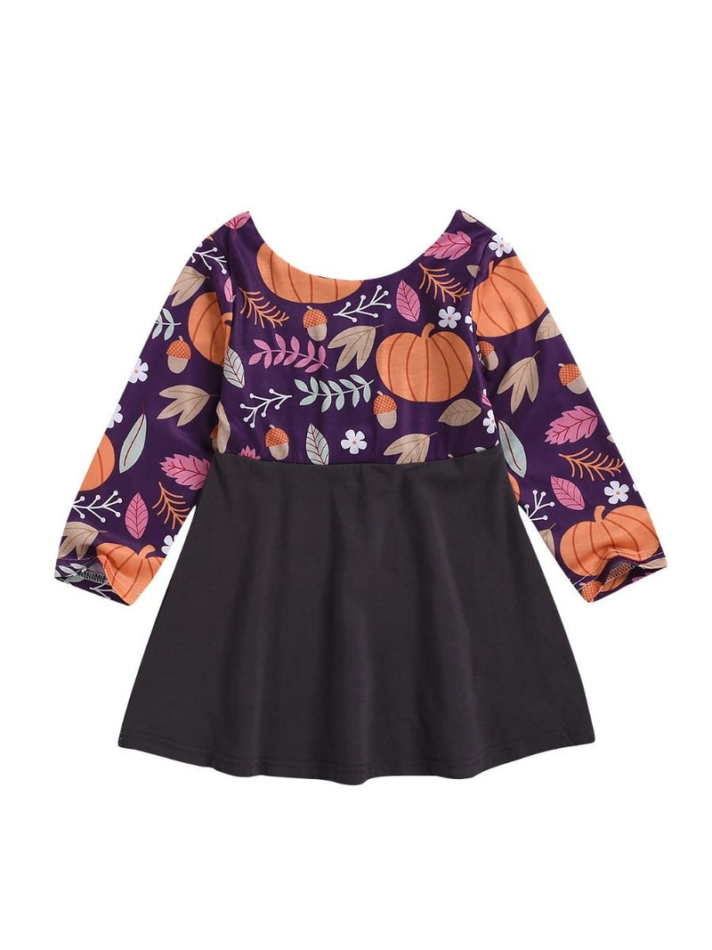 Pumpkin Printed Fall Dress