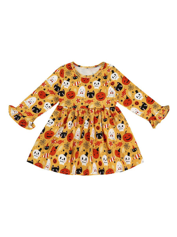 Pumpkin, Elf, Skull Pattern Dress-Front