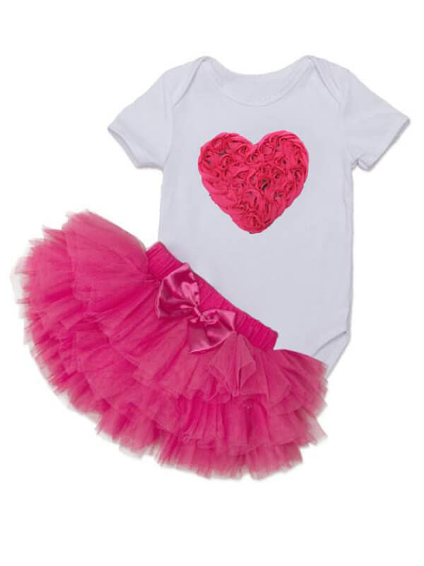 Heart Pattern Romper Princess Tutu Skirt Headband Shoes Set for Babies