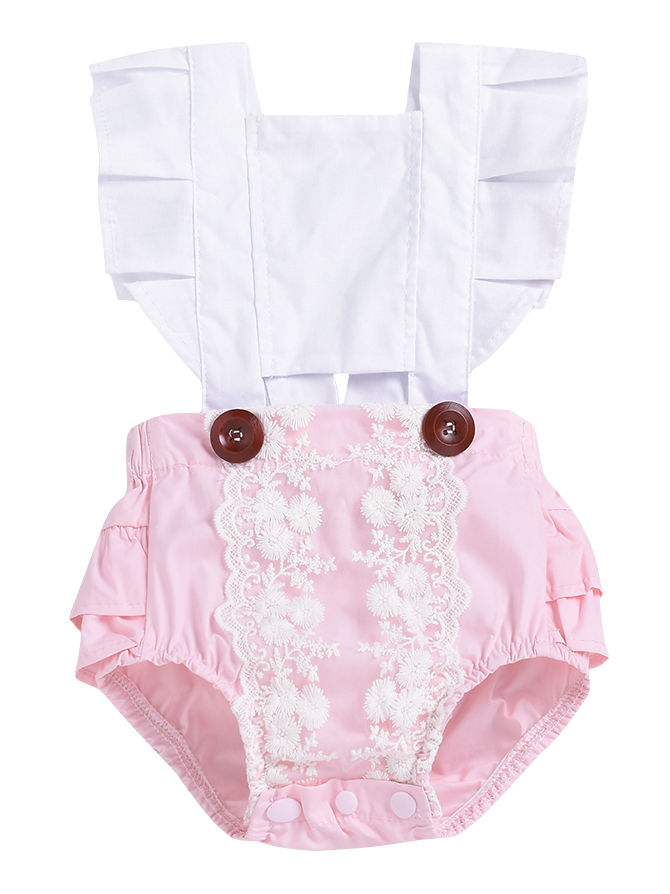 Cotton Blend Baby Girl Romper