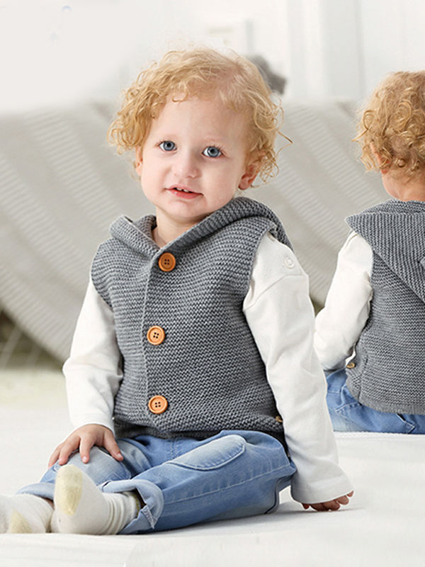 Animal Ears Waistcoat Sleeveless Buttoned Vest Baby Hoodie Cardigan