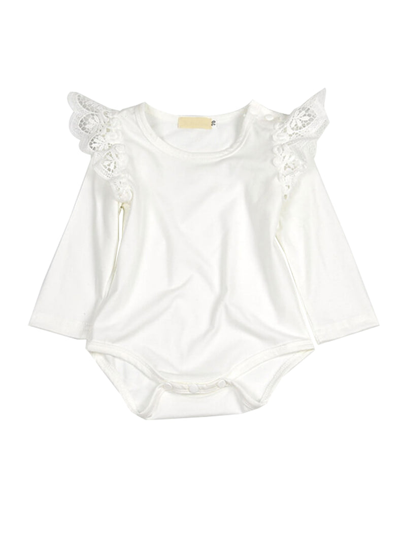 Lace Pattern Romper-White