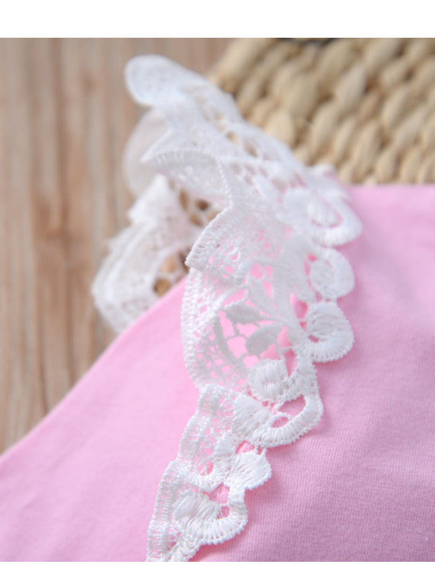 Infant Baby Lace Solid Color Long Sleeve Bodysuit