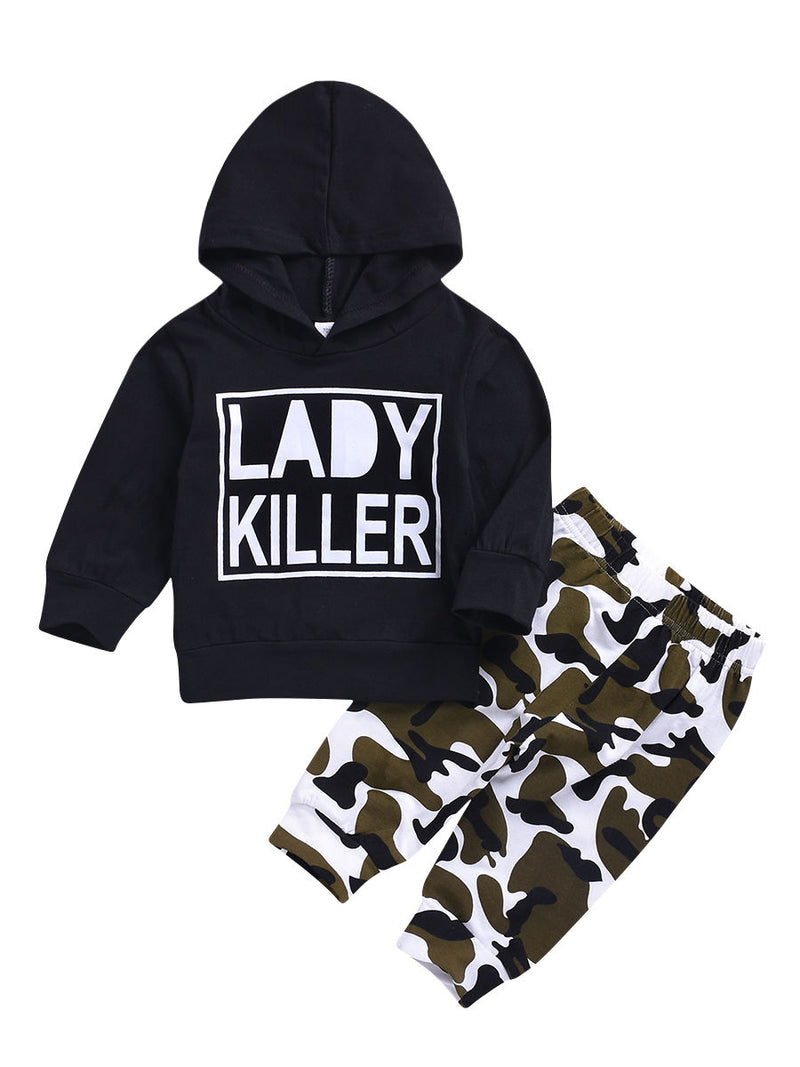 Infant Boys Girls Outfits LADY KILLER Hoodie + Camouflage Pants
