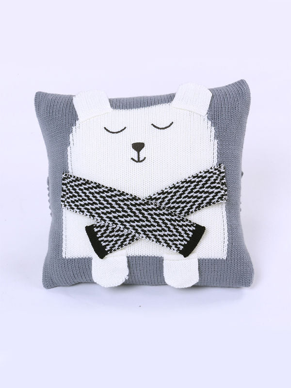 Knitted Pillow - gray
