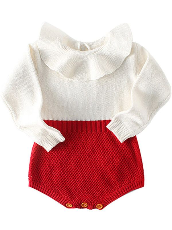 Doll Collar Paneled Knitting Romper
