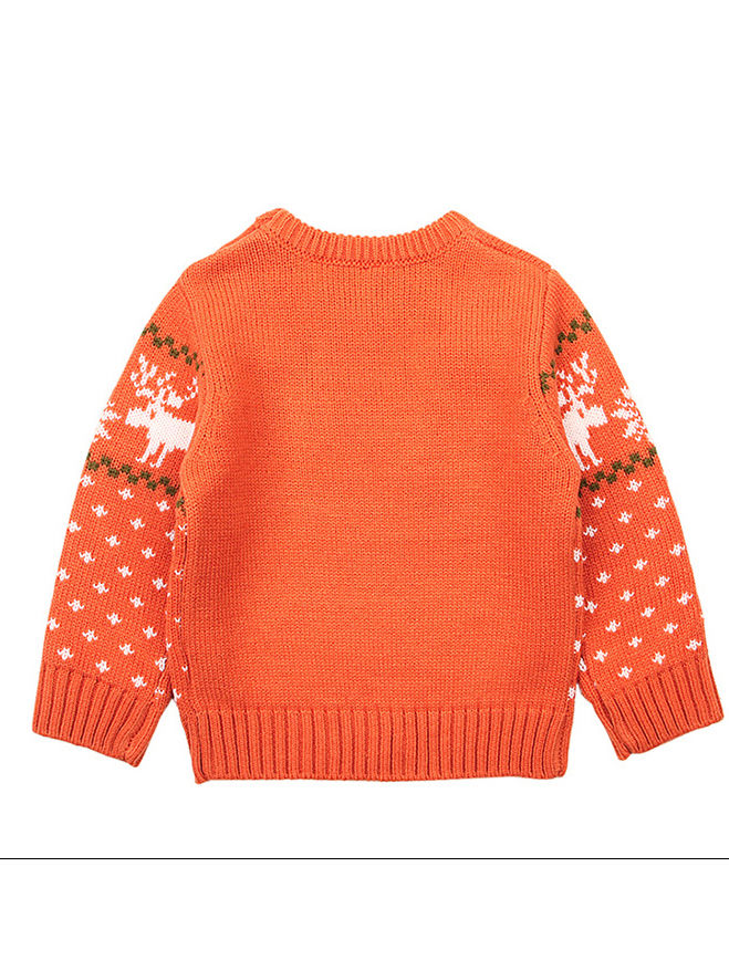Christmas Elk Snowflake Jumper Knitting Sweater Baby Boy Crochet Sweatshirt