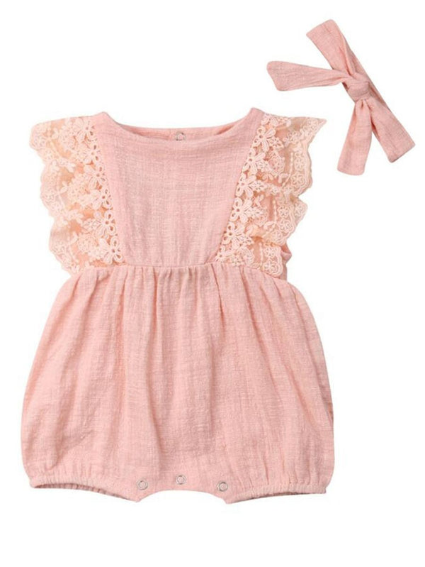 Lace Sleeves Pink Bodysuit+Headband