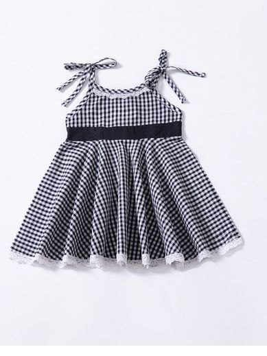 Fashion Baby Girl Lace-hem Sleeveless Lace-up Checked Summer Dress