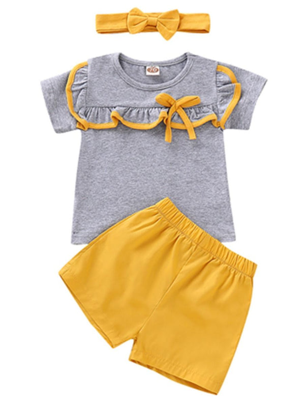 Baby Girl Clothes Set Bow T-shirt+Yellow Shorts+Headband