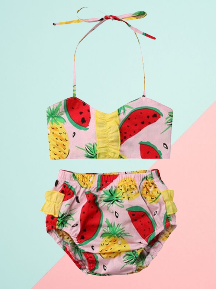 Watermelon Pineapple fruit Pattern Toddler Girl  2-Piece Bikini swimwear