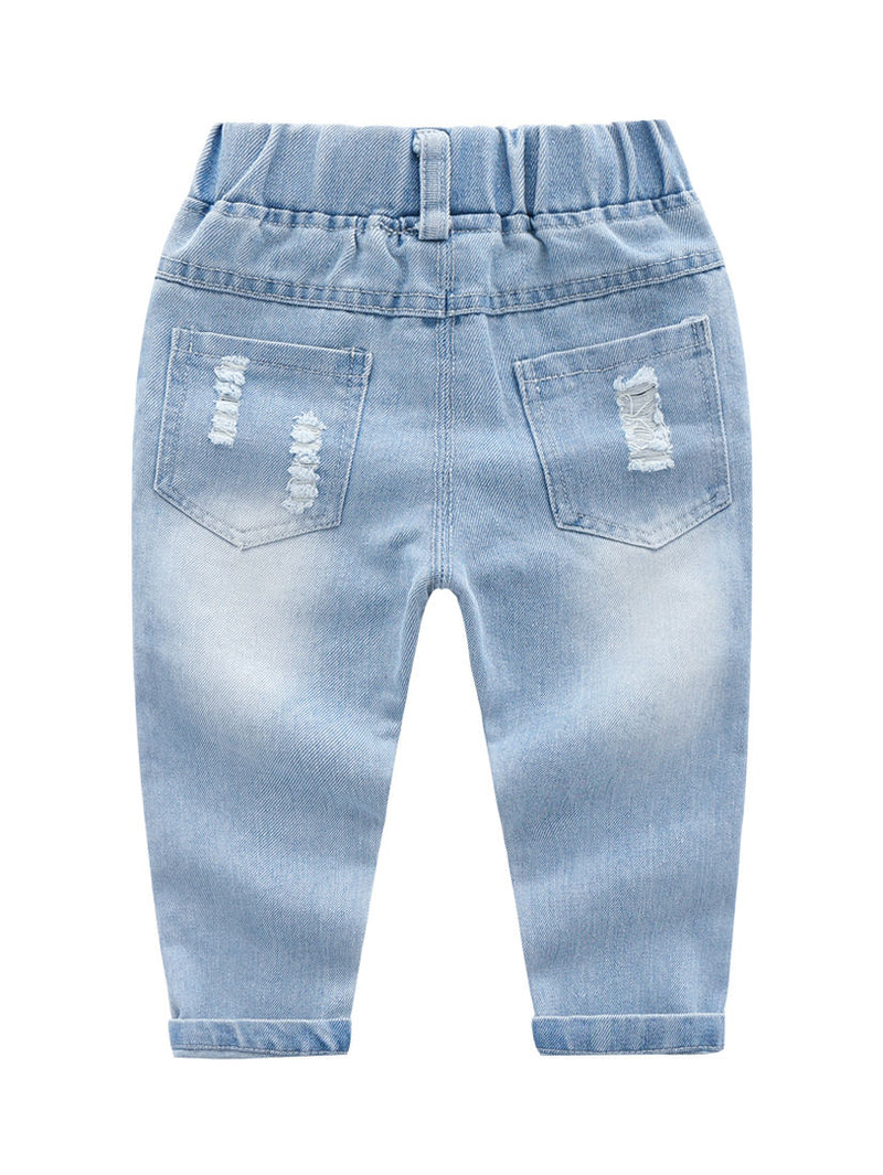 Trendy Little Kids Unisex Blue Frayed Jeans