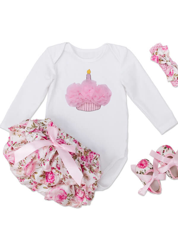 Long Sleeve Baby Romper Roses Pattern Shorts Set