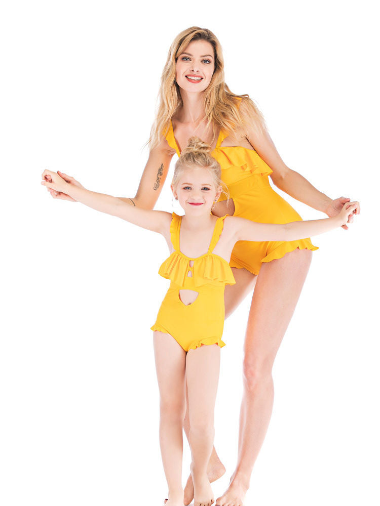 Mom & Me  Solid Color Swimming Suit