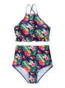 Mom and Daughter Flower Leaf Bikini Family Outfit Swimwear