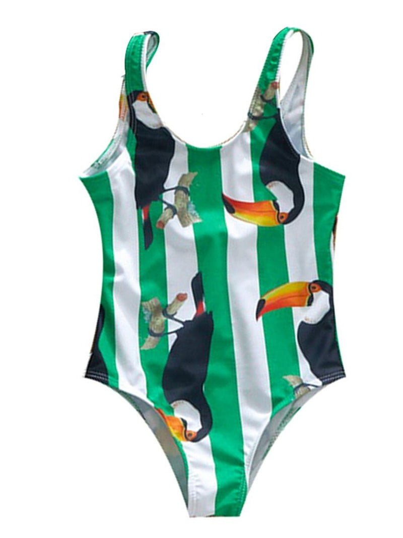 Mom and Daughter Bird Stripe One Piece Swimwear