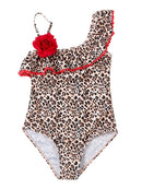 Mom and Me Leopard Print Flower One Shoulder Bikini