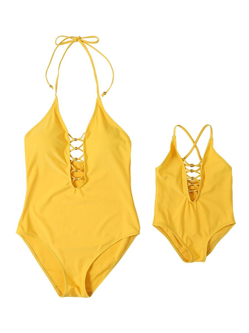 Mom and Me Yellow One-Piece Bikini Beach Wear