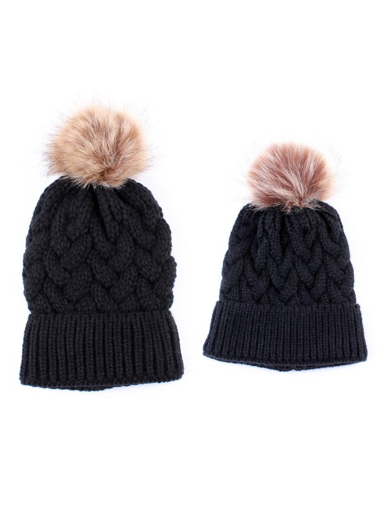 Mommy and Me 2-PACK Pompon Knitted Crochet Hat