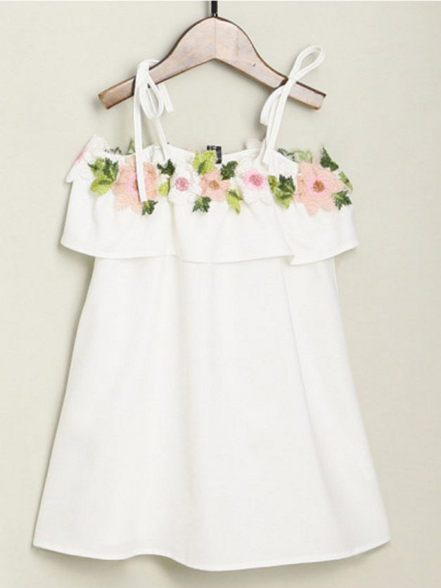 Mommy and Me Off Shoulder Dress White