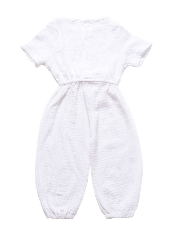Muslin Solid Color Elasticity Overall
