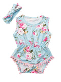Pom Pom Trimmed Sleeveless Floral Infant Onesie with Headband