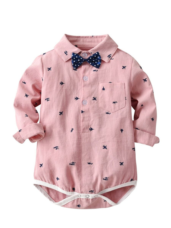Plane Print Infant Baby Boy Jumpsuits with White Polka Dots Bow