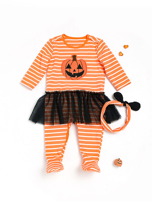 Striped Pumpkin Jumpsuit