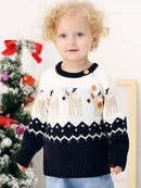 Deer Print Splicing Knitwear Acrylic Round Collar Baby Sweater
