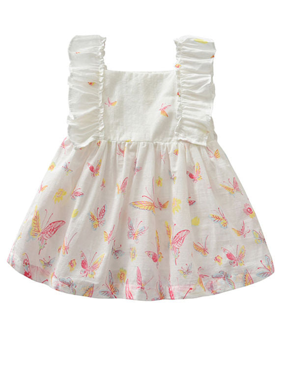 3-Piece Summer Toddler Baby Girl Clothes Outfits Ruffle Butterfly Dress+Brief+Bow Headband