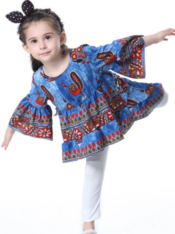 Ruffle Peacock Long Sleeve Little Big Girls Top Dress