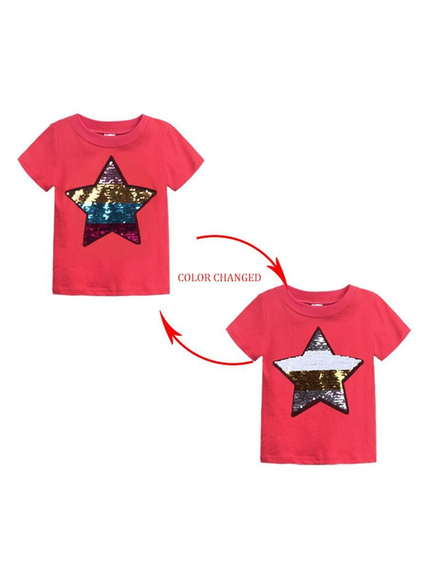 Sequins Star Top-red