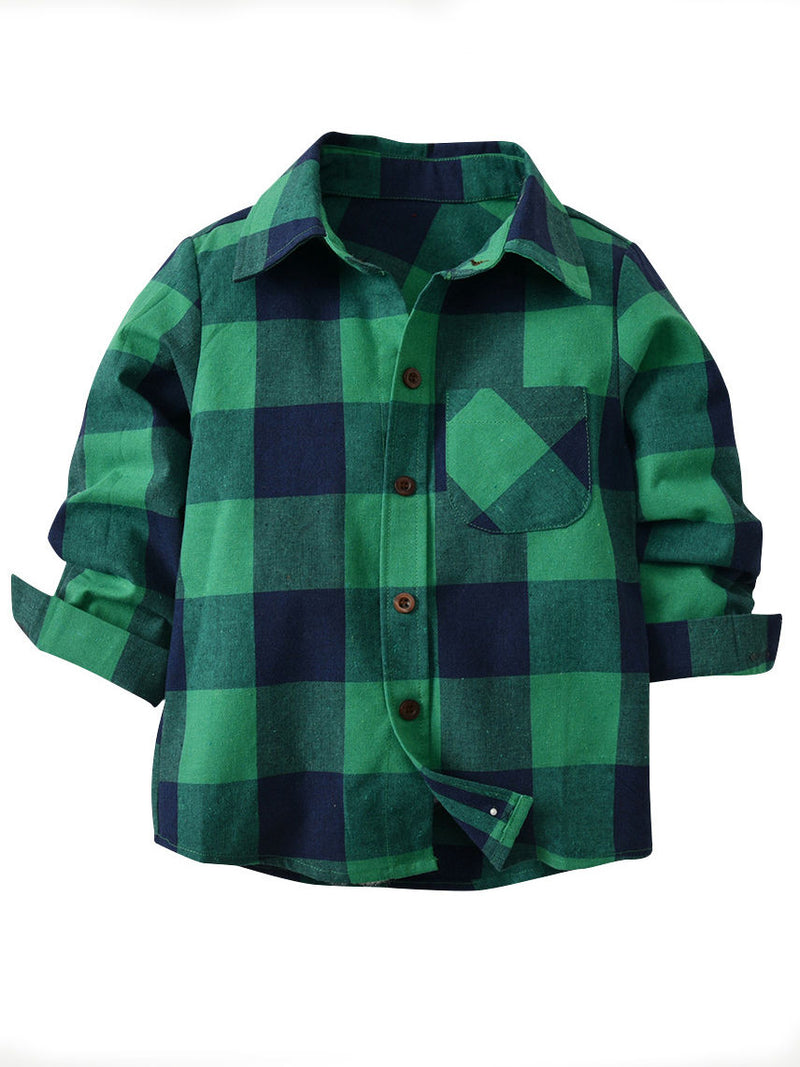 Long Sleeve Casual Clothes Buffalo Plaid Shirt Top for Toddler Big Boys Kids