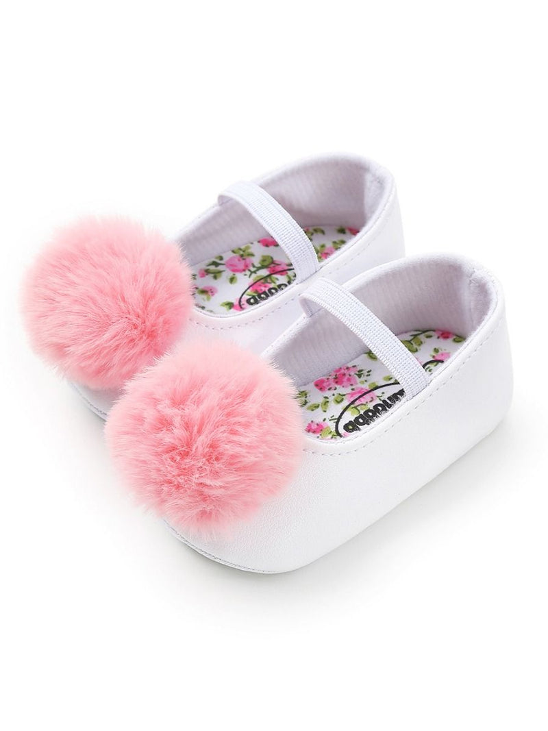 Small Fluff Ball Multi-Colored Princess Baby Girl Shoes