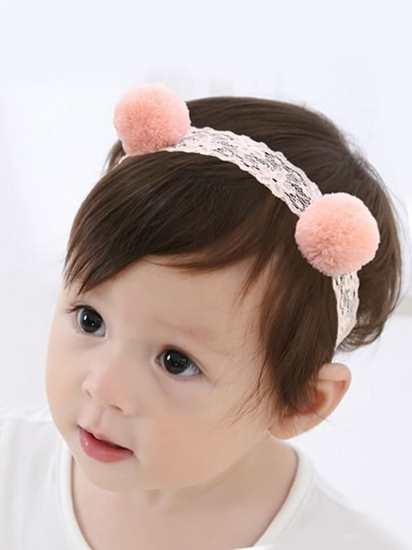 Soft Solid Color Headband Pompom Pattern Elastic Lace Head-wear