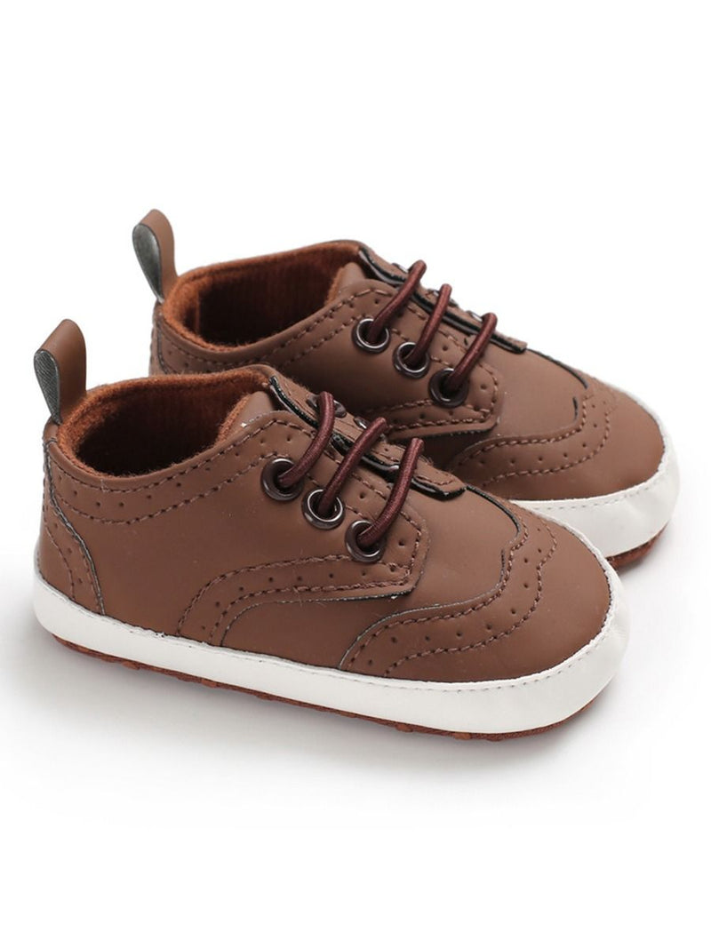Solid Color Crib Shoes - Brown