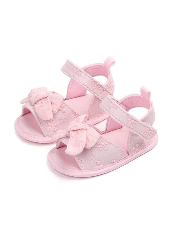Solid Color Bow Trim Baby Girls Sandals Pink/White