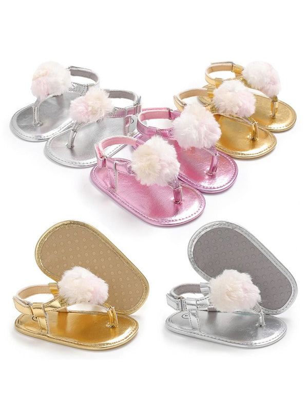Solid Color Sandal For Baby Girls