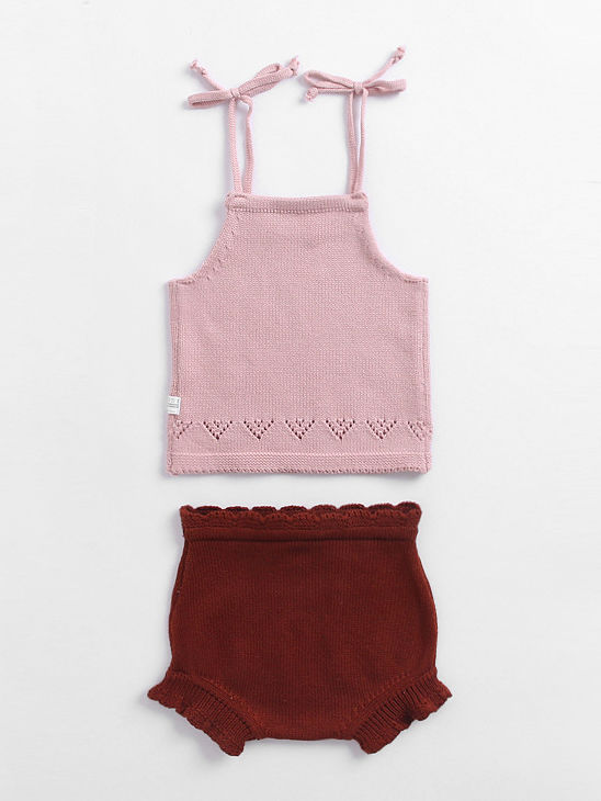 Suspender Top + Red Shorts