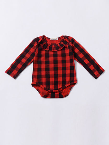 Red & Black Checked Bodysuit