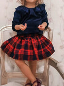 Spring 2-Piece Fashion Girl Deepblue Top Matching Checked Skirt