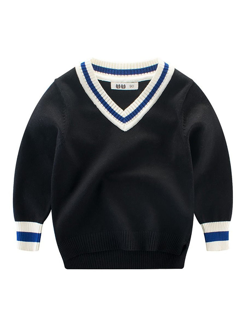 Spring Toddler Big Boy Striped V Collar Crochet Sweater