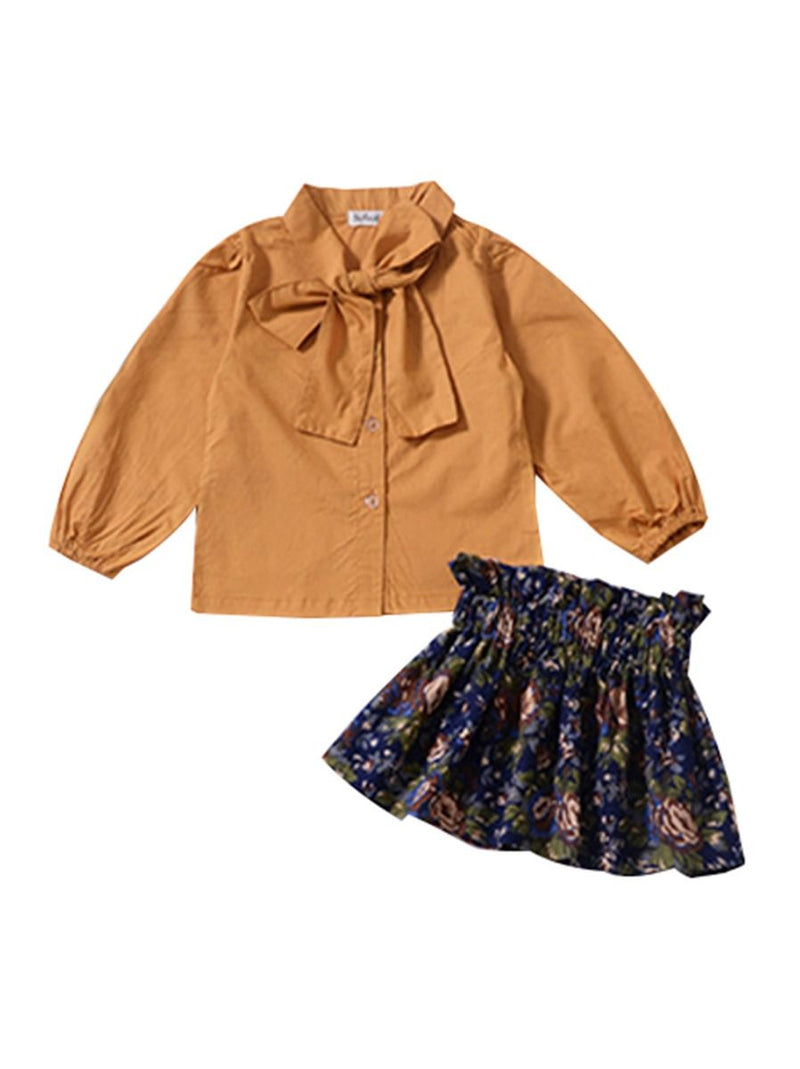 Pumpkin Color Top Flower Skirt