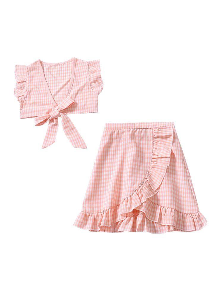 Plaid 2-piece Outfit-Pink