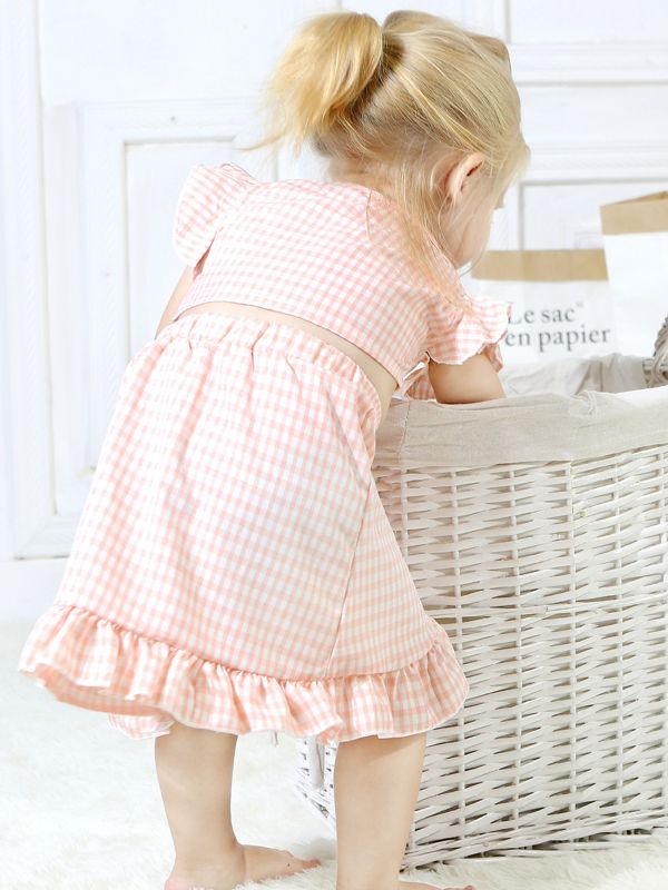Stylish 2-piece Set Toddler Baby Girl Checked Tops+Skirt