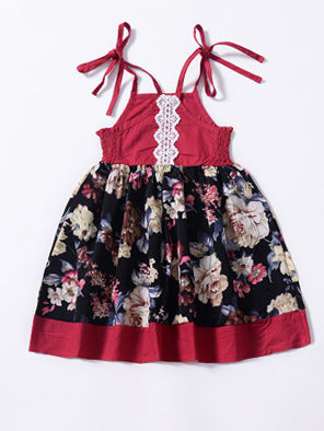 Flower Pattern Suspender Dress