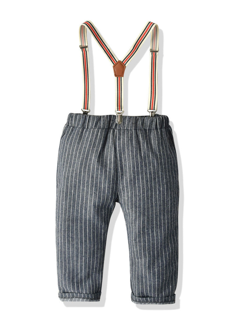 4-Piece Stylish Little Boys Checked Bow Shirt and Suspender Pants