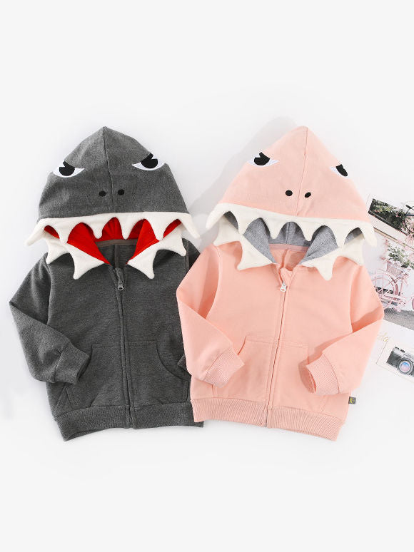 Shark style Zipper Coat-gray/pink