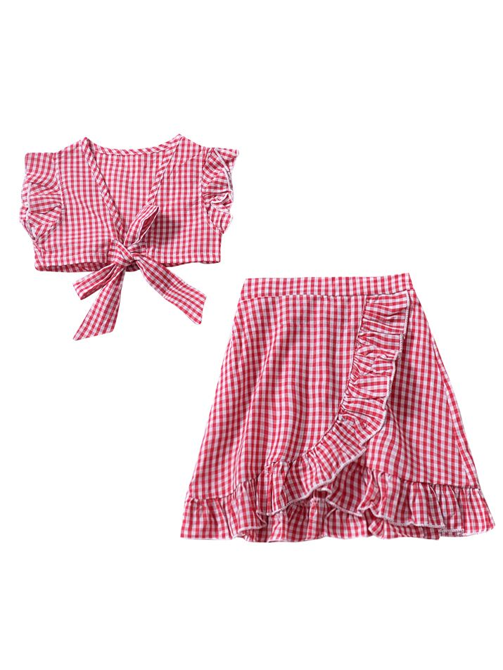 Checked 2-pieces Outfit-Red